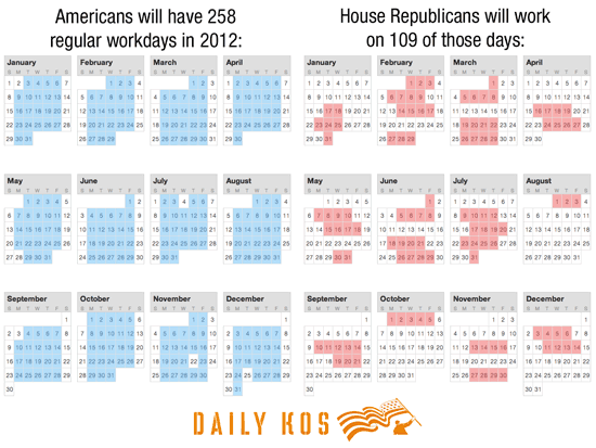 House GOP work calendar