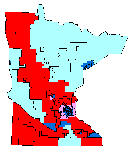 Map of MN House by party affiliation and Amendment 1 results