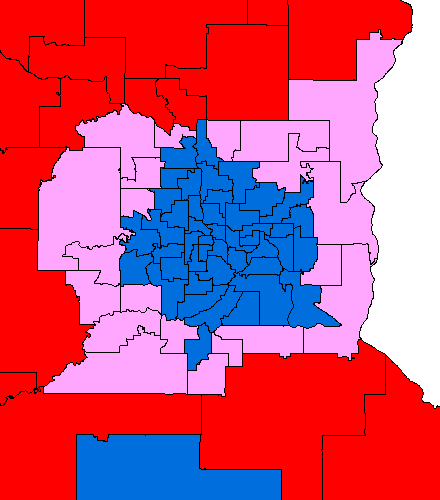 Map of MN House by party affiliation and Amendment 1 results, Metro Area
