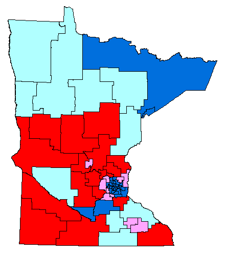 Map of MN Senate by party affiliation and Amendment 1 results