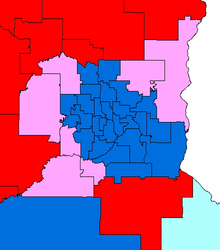 Map of MN Senate by party affiliation and Amendment 1 results, Metro Area