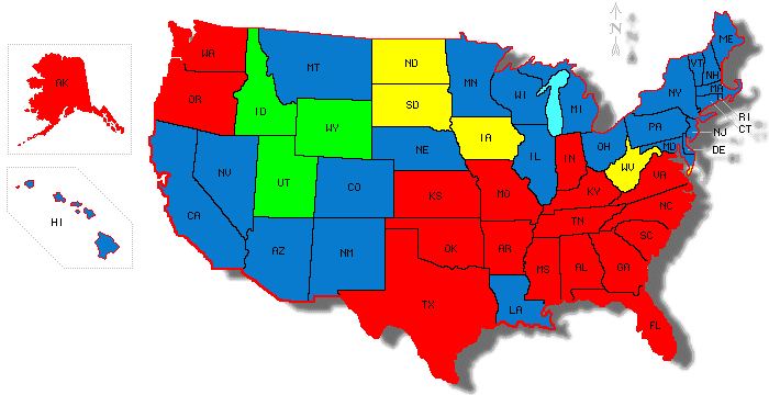 Map Of All 50 United States Colored In By Largest Religious Plurality In Each State