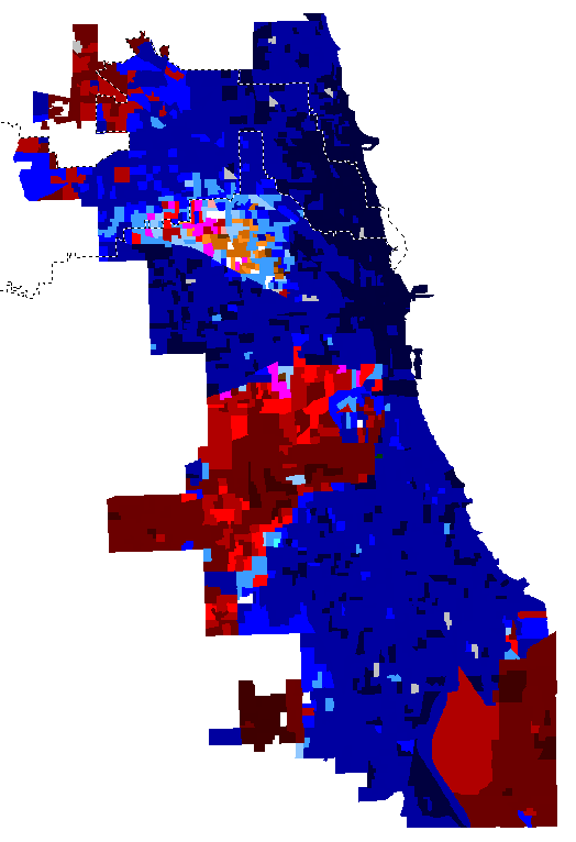 Map of Chicago mayoral election results by precinct