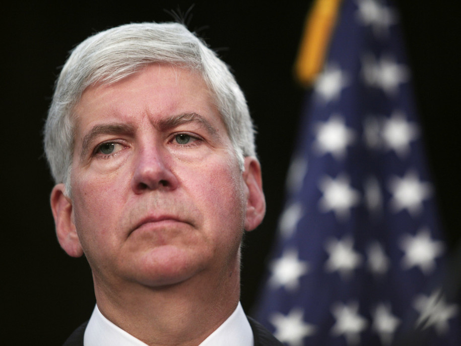 DETROIT, MI - JULY 19: Michigan Gov. Rick Snyder discusses Detroit's bankruptcy filing at a news conference July 19, 2013 in Detroit, Michigan. Detroit's emergency manager Kevin Orr made the Chapter 9 filing yesterday. Detroit owes its approximately 100,0