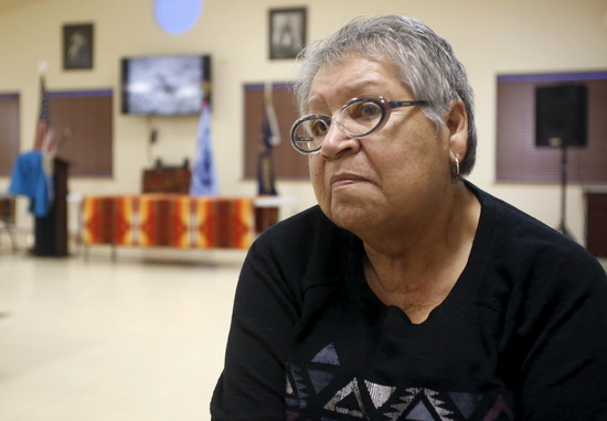 Charlotte Rodrique, the chairwoman of the federally recognized Burns Paiute Tribe, talks about the occupation at the Malheur National Wildlife Refuge near Burns, Oregon, January 5, 2016. REUTERS/Jim Urquhart - RTX217BM