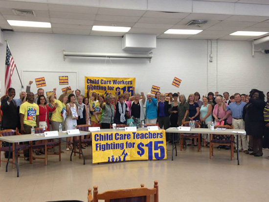 Child care teachers fight for $15