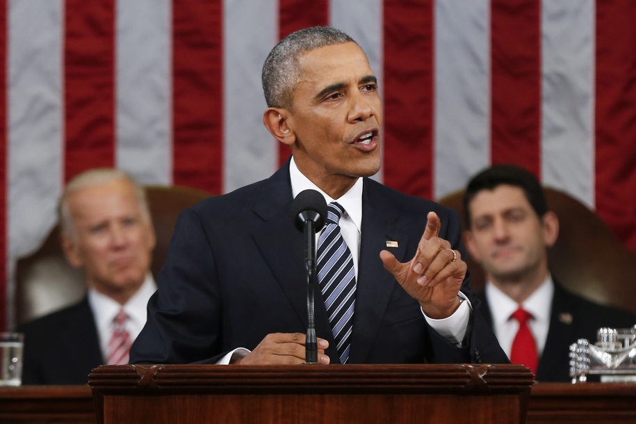 WASHINGTON, DC - JANUARY 12:  President Barack Obama delivers his State of the Union address before a joint session of Congress on Capitol Hill January 12, 2016 in Washington, D.C.  In his final State of the Union, President Obama reflected on the past se