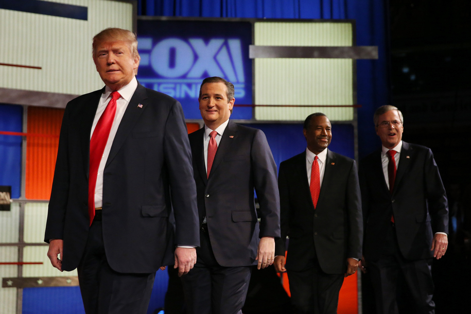 NORTH CHARLESTON, SC - JANUARY 14:  Republican presidential candidates (L-R) Donald Trump, Sen. Ted Cruz (R-TX), Ben Carson and Jeb Bush arrive to participate in the Fox Business Network Republican presidential debate at the North Charleston Coliseum and