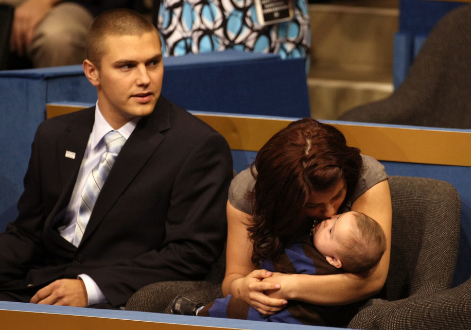 ST. PAUL, MN - SEPTEMBER 03: Track Palin sits with Willow Palin while holding Trig Palin on day three of the Republican National Convention (RNC) at the Xcel Energy Center on September 3, 2008 in St. Paul, Minnesota. The GOP will nominate U.S. Sen. John M