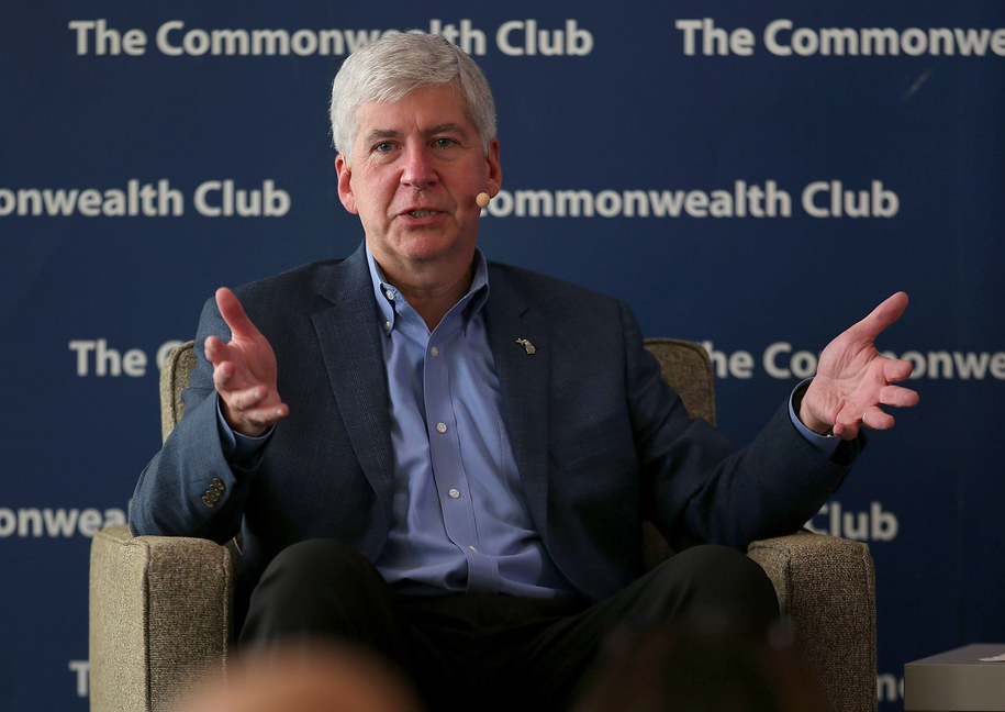 SAN FRANCISCO, CA - OCTOBER 01:  Michigan Governor Rick Snyder speaks at the Commonwealth Club on October 1, 2015 in San Francisco, California. Snyder joined Ford Motor Company Executive Chairman Bill Ford and Climate One Founder & host Greg Dalton in an