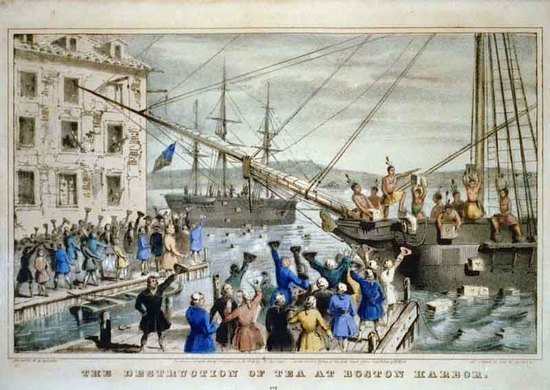 """The Destruction of Tea at Boston Harbor,"" lithograph depicting the 1773 Boston Tea Party."