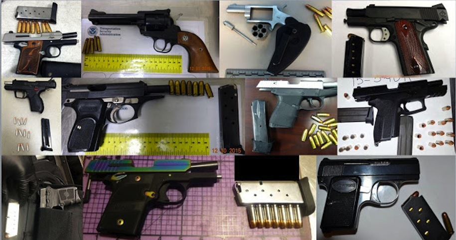 Eleven of 46 guns discovered by TSA agents at airports across the country during the week of Dec. 25-31, 2015