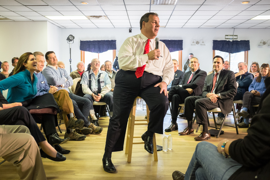EPPING, NH - FEBRUARY 02: Republican presidential hopeful New Jersey Governor Chris Christie speaks at the Epping American Legion on February 2, 2016 in Epping, New Hampshire. The New Hampshire primary is next week, February 9, 2016.  (Photo by Matthew Ca
