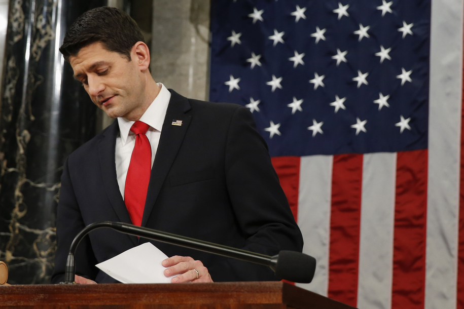 WASHINGTON, DC - JANUARY 12: Speaker of the House Paul Ryan (R) looks over his notes before President Barack Obama's State of the Union address to a joint session of Congress on Capitol Hill January 12, 2016 in Washington, D.C.  In his final State of the