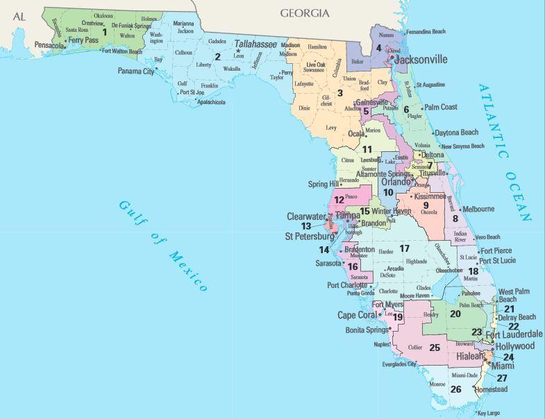 Florida Congressional Districts Map.Florida Delegate Mathematics 214 Dels