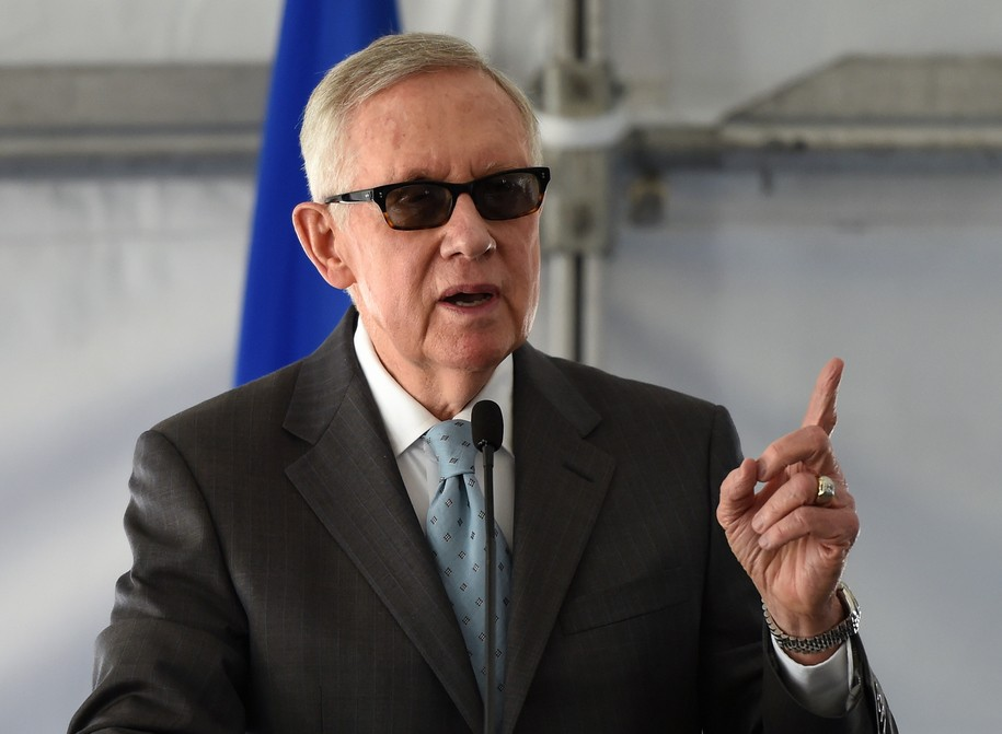LAS VEGAS, NV - FEBRUARY 16:  U.S. Senate Minority Leader Harry Reid (D-NV) speaks at a dedication ceremony to commemorate the completion of the 102-acre, 15-megawatt Solar Array II Generating Station at Nellis Air Force Base on February 16, 2016 in Las V