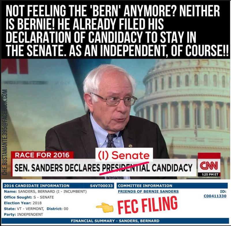 LyingMeme?1457159826 no, sanders did not file for re election as an independent in 2018
