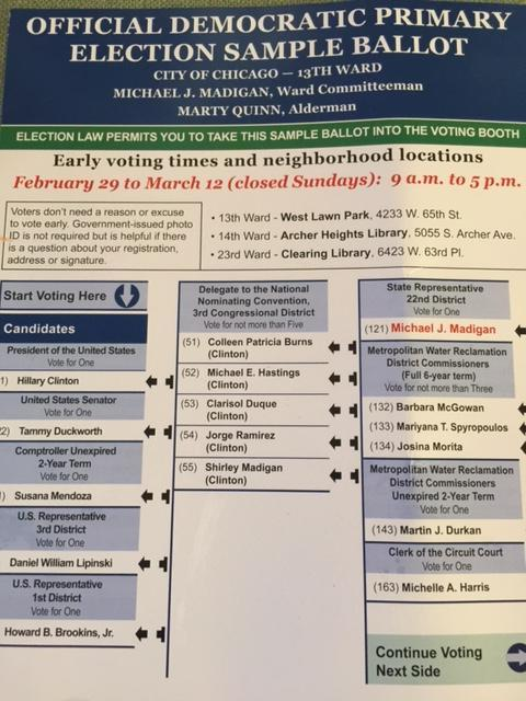Bernie Sanders OMITTED From Chicago Democratic Sample Ballot ...
