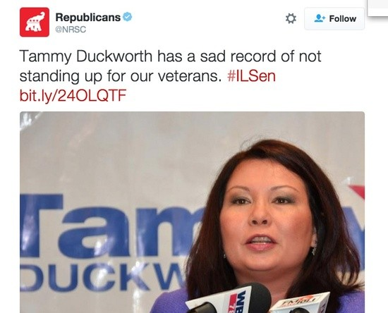 "NRSC tweet saying veteran and double-amputee Tammy Duckworth hasn't ""stood up"" for veterans"