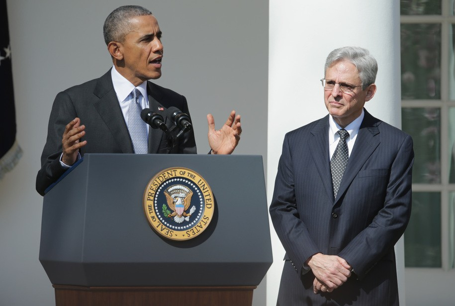 WASHINGTON, DC - MARCH 16:  U.S. President Barack Obama (L) stands with Judge Merrick B. Garland, while nominating him to the US Supreme Court, in the Rose Garden at the White House, March 16, 2016 in Washington, DC. Garland currently serves as the chief