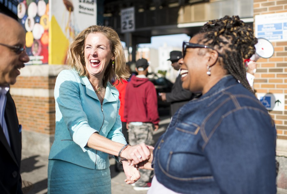 UNITED STATES - APRIL 14: Candidate for U.S. Senate Katie McGinty, D-Pa., campaigns at a SEPTA subway stop in west Philadelphia with other local Democrats on Tuesday, April 19, 2016. Democrats in Pennsylvania will select a candidate on the 26th to run for Sen. Pat Toomey's seat in November. (Photo By Bill Clark/CQ Roll Call). (CQ Roll Call via AP Images)