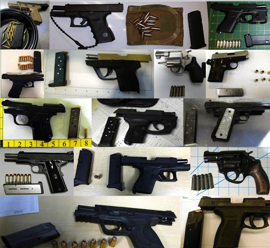 Fifteen of the 53 guns discovered by TSA agents at airports across the country, during the week of Feb. 12-18, 2016.