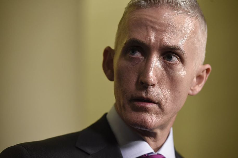Republican US Representative from South Carolina Trey Gowdy speaks to the press after Former Secretary of State and Democratic Presidential hopeful Hillary Clinton testified before the House Select Committee on Benghazi on Capitol Hill in Washington, DC, October 22, 2015. Clinton took the stand to defend her role in responding to deadly attacks on the US mission in Libya, as Republicans forged ahead with an inquiry criticized as partisan anti-Clinton propaganda.   AFP PHOTO/ SAUL LOEB        (Photo credit should read SAUL LOEB/AFP/Getty Images)