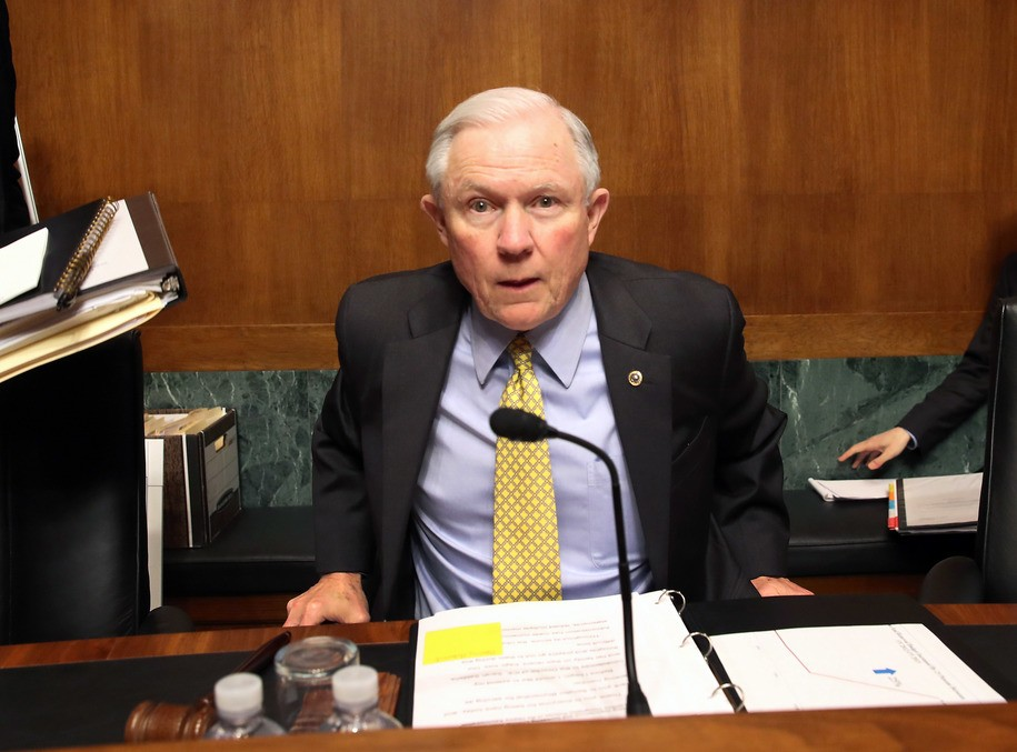 WASHINGTON, DC - MAY 19: Sen. Jeff Sessions (R-AL), chairs a Senate Judiciary Subcommittee hearing on Capitol Hill May 19, 2016 in Washington, DC. The subcommittee heard testimony on immigration policies on the Obama Administration. (Photo by Mark Wilson/Getty Images)