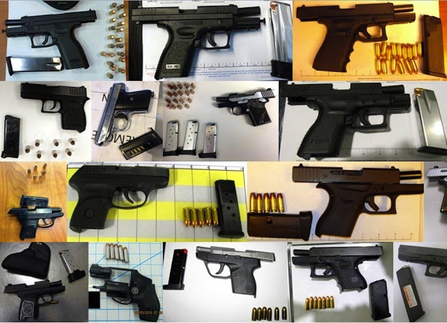 Seventeen of the 56 guns discovered by TSA agents at airports across the country, during the week of February 6 - March 3, 2016.