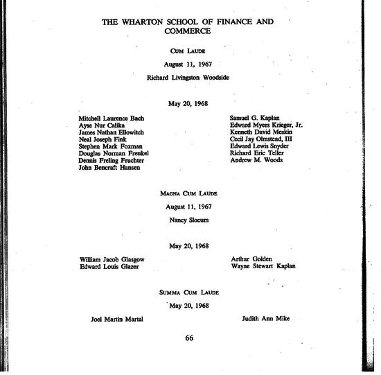 Wharton School of Finance honors graduates, May 1968