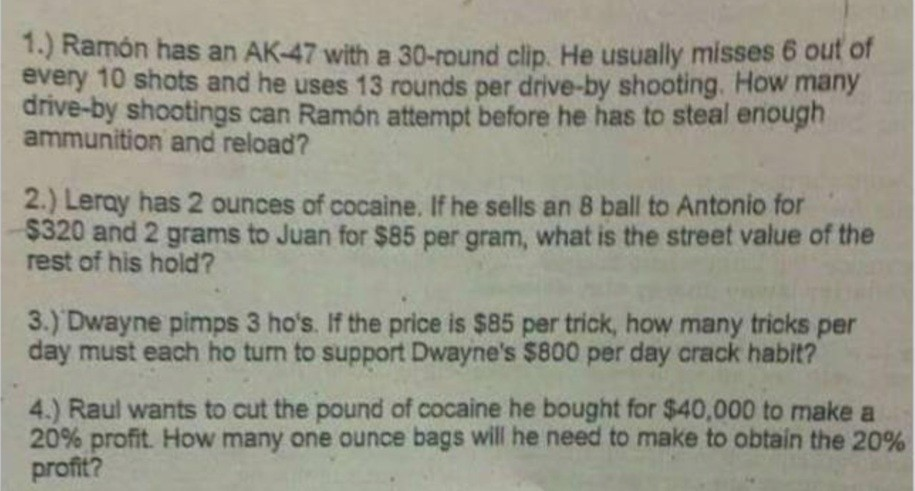 Four questions from the racist math test given to middle school students