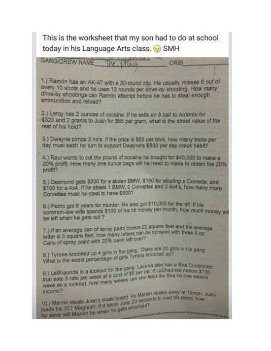 Photo of a racist test given to middle school students in Alabama