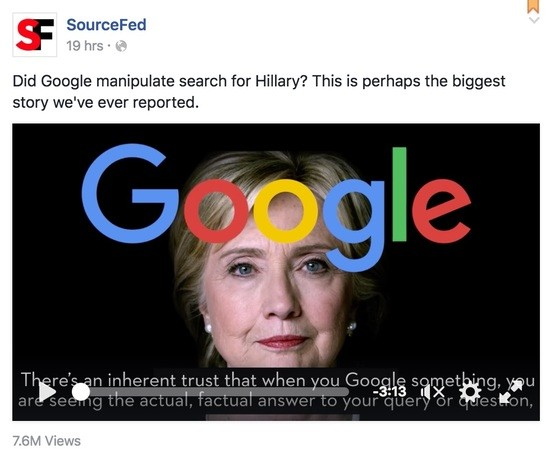 Google manipulating search results for Hillary Clinton?