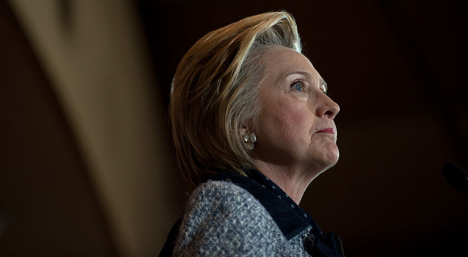 PITTSBURGH, PA - JUNE 14: Presumptive Democratic nominee for president Hillary Clinton speaks to supporters at the International Brotherhood of Electric Workers Hall  on Tuesday, June 14, 2016 in Pittsburgh, Pennsylvania.  In the wake of the shooting in Orlando, Florida, Clinton is campaigning in Ohio and Pennsylvania to present her vision for a stronger and safer America. (Photo by Jeff Swensen/Getty Images)
