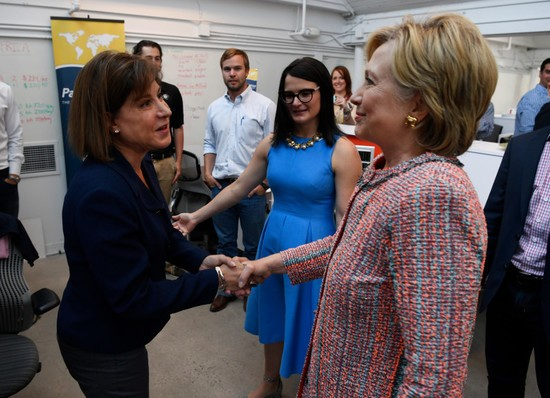 DENVER, CO - June 28: Democratic Presidential candidate Hillary Clinton greets PanXchange CEO Julie Lerner, left, during a campaign stop at Galvanize June 28, 2016. (Photo by Andy Cross/The Denver Post)