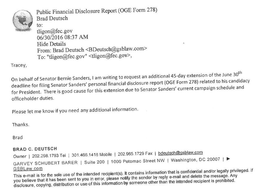 Bernie requests 45-day extension to campaign financial disclosure ...