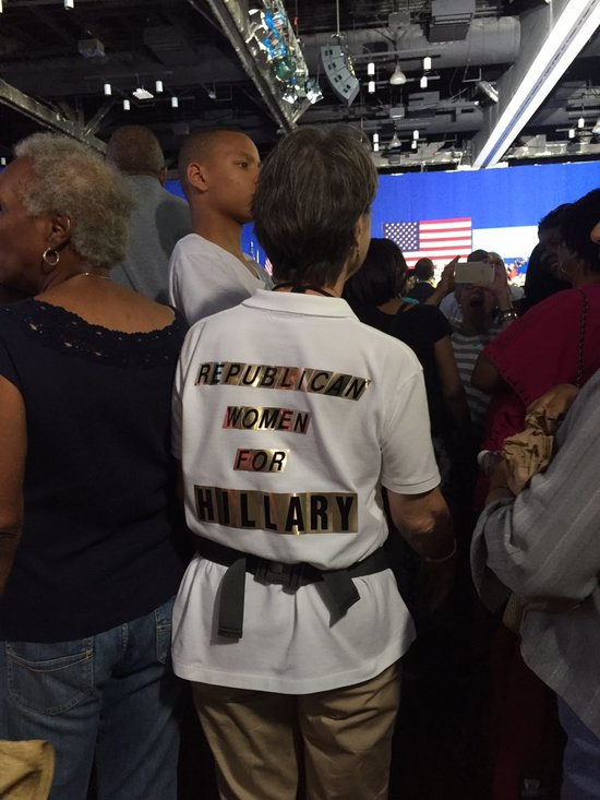 "Woman with hand-made t-shirt reading ""Republican Women for Hillary"" at Obama-Clinton rally in Charlotte, NC, July 5, 2016"