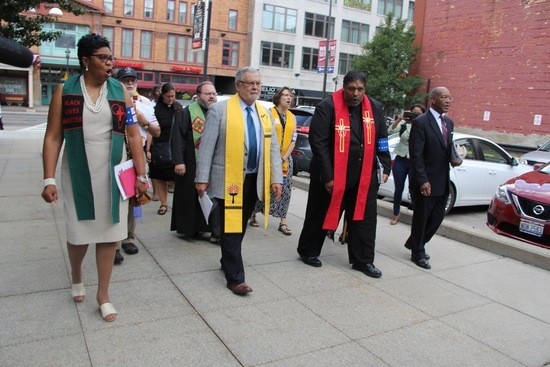 Rev Blackmon, Rev. Morales, Rev. Barber, and Rev. Forbes marching in Cleveland to RNC