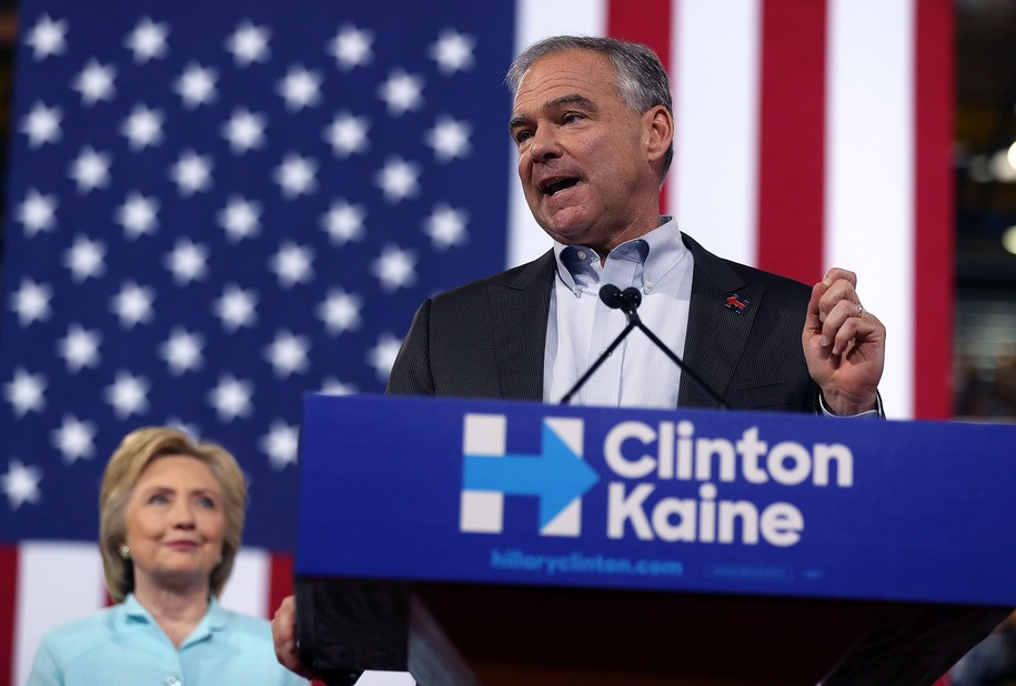 MIAMI, FL - JULY 23:  Democratic vice presidential candidate U.S. Sen. Tim Kaine (D-VA) speaks alongside Democratic presidential candidate former Secretary of State Hillary Clinton during a campaign rally at Florida International University Panther Arena on July 23, 2016 in Miami, Florida. Hillary Clinton and  Tim Kaine made their first public appearance together a day after the Clinton campaign announced Senator Kaine as the Democratic vice presidential candidate.   (Photo by Justin Sullivan/Getty Images)