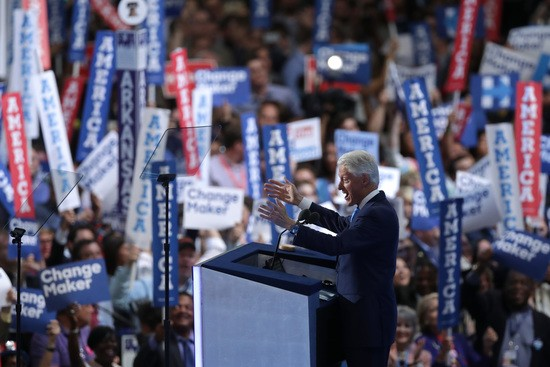 PHILADELPHIA, PA - JULY 26: Former US President Bill Clinton delivers remarks on the second day of the Democratic National Convention at the Wells Fargo Center, July 26, 2016 in Philadelphia, Pennsylvania. Democratic presidential candidate Hillary Clinton received the number of votes needed to secure the party's nomination. An estimated 50,000 people are expected in Philadelphia, including hundreds of protesters and members of the media. The four-day Democratic National Convention kicked off July 25. (Photo by Chip Somodevilla/Getty Images)