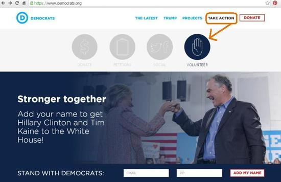 Screenshot of the homepage of www.democrats.org, the online home of the national Democratic Party.