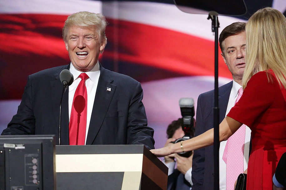 CLEVELAND, OH - JULY 21: Republican presidential candidate Donald Trump (L) and his daughter Ivanka Trump (R) work with campaign manager Paul Manafort (2nd R) while testing the teleprompters and microphones on stage before the start of the fourth day of the Republican National Convention on July 21, 2016 at the Quicken Loans Arena in Cleveland, Ohio. Ivanka will introduce her father before he gives his acceptance speech tonight, the final night of the convention. (Photo by Chip Somodevilla/Getty Images)