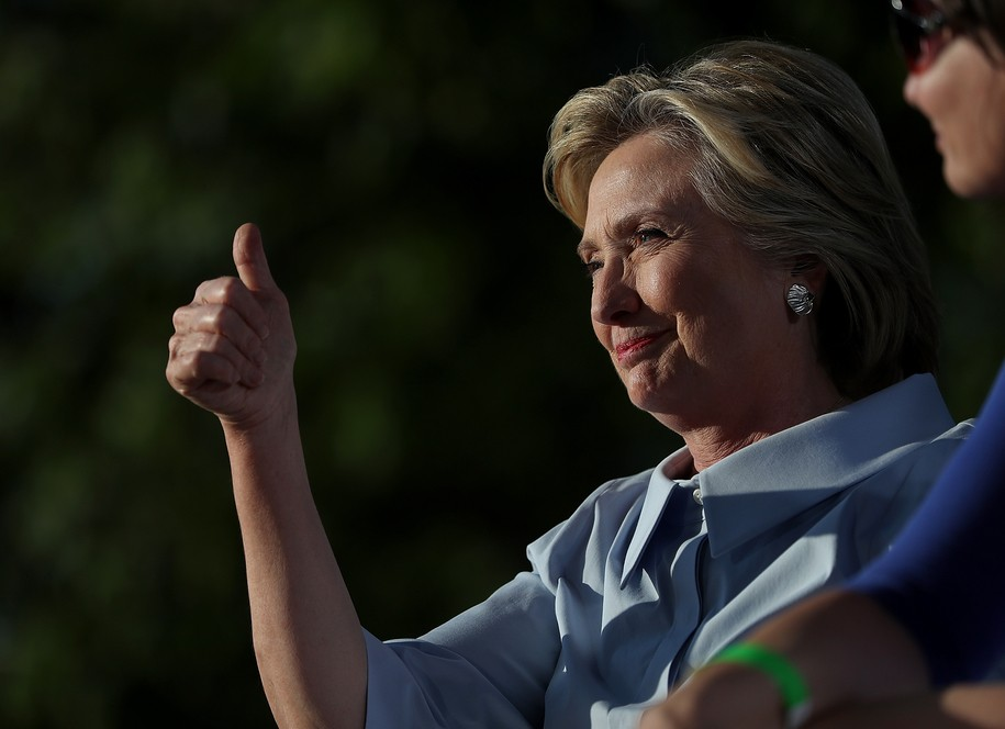 HAMPTON, IL - SEPTEMBER 05:  Democratic presidential nominee Hillary Clinton gives the thumbs-up at the 49th annual Salute to Labor on September 5, 2016 in Hampton, Illinois. Clinton is kicking off a Labor Day campaign swing to Ohio and Iowa on a new campaign plane.  (Photo by Justin Sullivan/Getty Images)