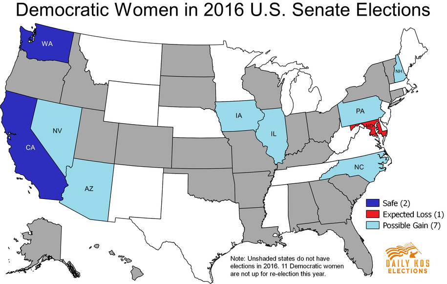 Democratic Women Are Poised For Major Gains In S Senate And - Us senate elections 2016 map