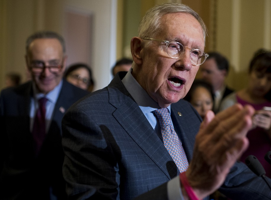 UNITED STATES - SEPTEMBER 20: Senate Minority Leader Harry Reid, D-Nev., speaks to the media in the Ohio Clock Corridor following the Senate Democrats' weekly policy lunch in the Capitol on Tuesday, Sept. 20, 2016. (Photo By Bill Clark/CQ Roll Call) (CQ Roll Call via AP Images)