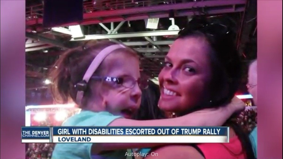 Jennifer Mau and daughter at a Colorado Trump rally