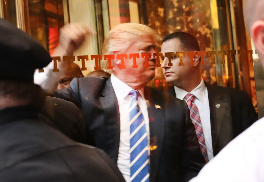 NEW YORK, NY - OCTOBER 08:  Donald Trump greets supporters  outside of Trump Towers in Manhattan October 8, 2016 in New York City. The Donald Trump campaign has faced numerous calls for him to step aside after a recording from 2005 revealed lewd comments Trump made about women. (Photo by Spencer Platt/Getty Images)