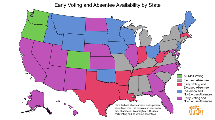 States that have various early or absentee voting options.