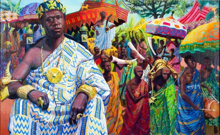 A realistic artistic depiction of an ancient Asante King in what is now Ghana painted by Alfred Smith.