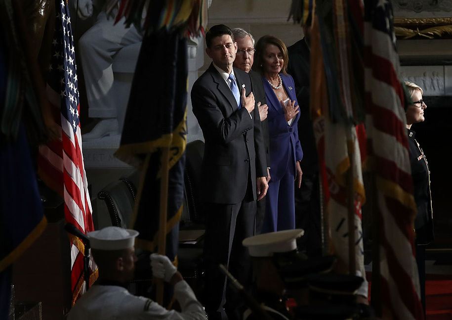 WASHINGTON, DC - SEPTEMBER 21:  (L-R) Speaker of the House Paul Ryan (R-WI), Senate Majority Leader Mitch McConnell (R-KY), House Minority Leader Nancy Pelosi (D-CA) and Speaker of the House of the Ohio House of Representatives Cliff Rosenberger during the playing of the national anthem at a ceremony to dedicate a statue of Thomas Edison in Statuary Hall at the U.S. Capitol September 21, 2016 in Washington, DC. The statue of Edison was placed by in Statuary Hall by the state of Ohio, replacing the statue of former Ohio Gov. William Allen.  (Photo by Win McNamee/Getty Images)